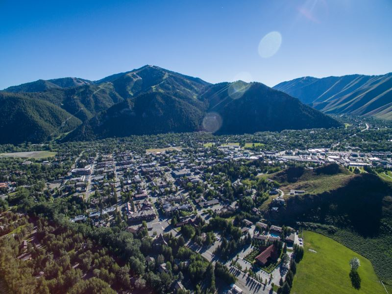 An aerial shot of the Sun Valley