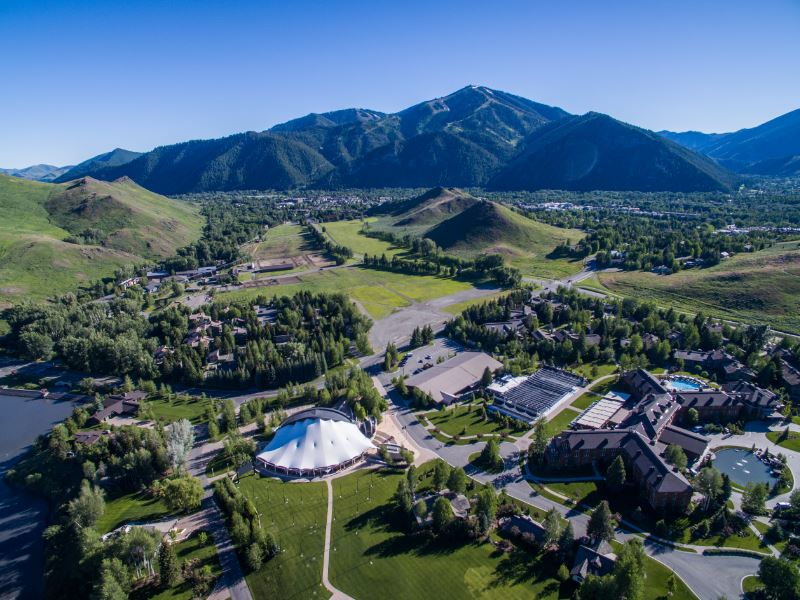 Aerial picture of the Sun Valley Community School and the Rocky Mountains