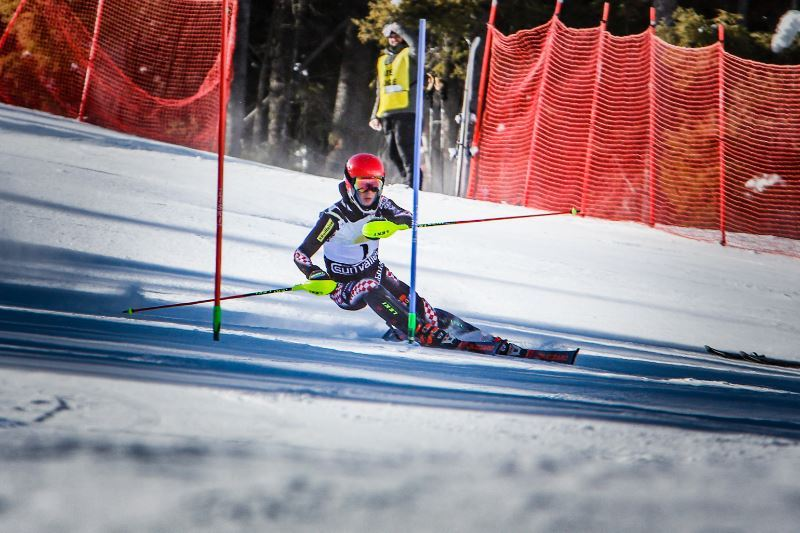 A skier training on a ski slope