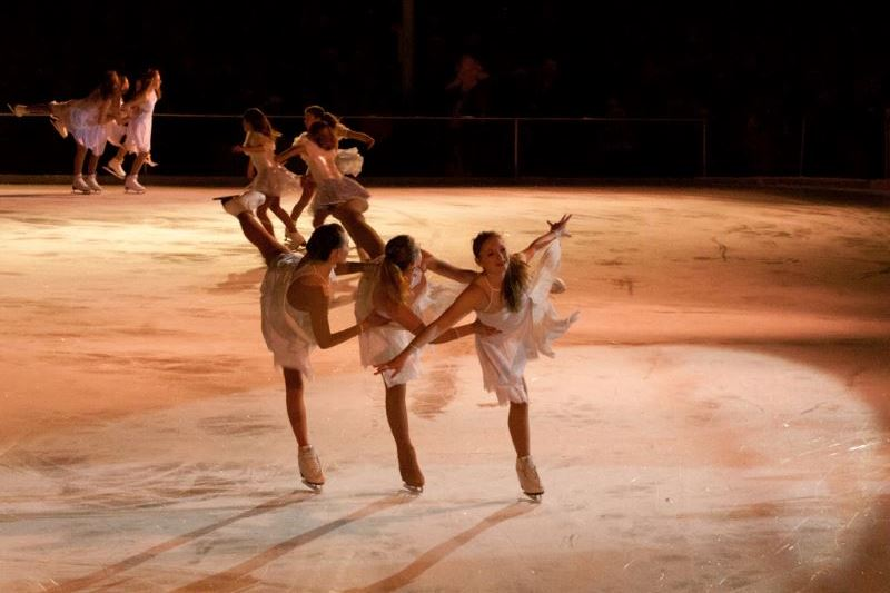 Ice skaters practicing a routine