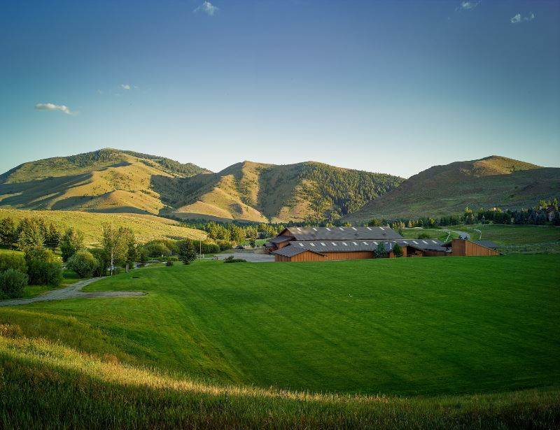 Sun Valley Community School among hills and the Rocky Mountains